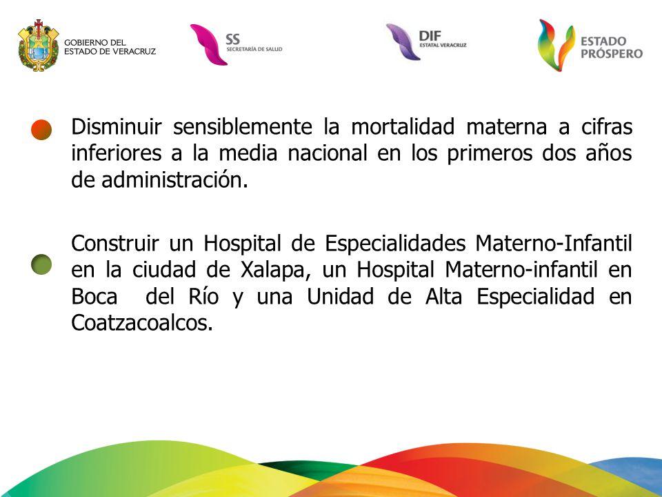 Disminuir sensiblemente la mortalidad materna a cifras inferiores a la media nacional en los primeros dos años de administración. Construir un Hospita