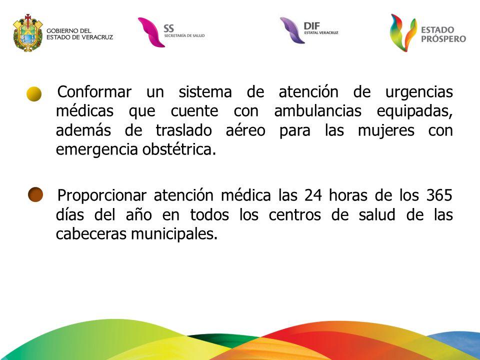 Conformar un sistema de atención de urgencias médicas que cuente con ambulancias equipadas, además de traslado aéreo para las mujeres con emergencia o