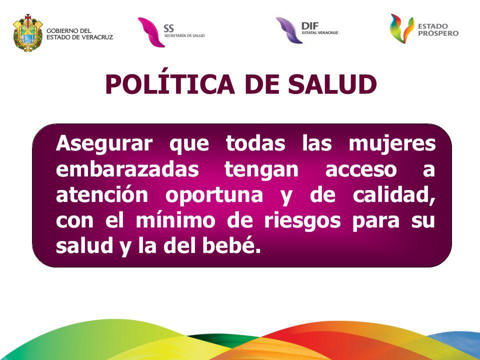 POLÍTICA DE SALUD Asegurar que todas las mujeres embarazadas tengan acceso a atención oportuna y de calidad, con el mínimo de riesgos para su salud y