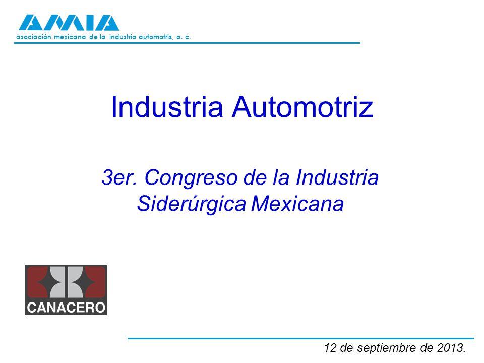 asociación mexicana de la industria automotriz, a. c. Industria Automotriz 3er. Congreso de la Industria Siderúrgica Mexicana 12 de septiembre de 2013