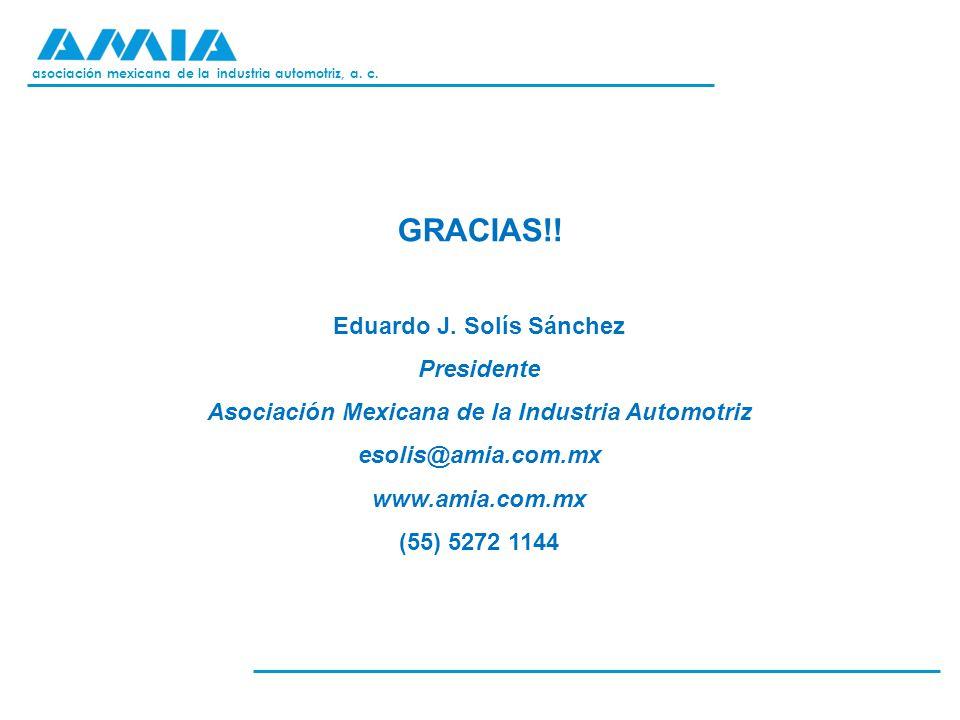 asociación mexicana de la industria automotriz, a. c. GRACIAS!! Eduardo J. Solís Sánchez Presidente Asociación Mexicana de la Industria Automotriz eso