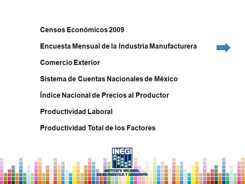 Censos Económicos 2009 Encuesta Mensual de la Industria Manufacturera Comercio Exterior Sistema de Cuentas Nacionales de México Índice Nacional de Precios al Productor Productividad Laboral Productividad Total de los Factores
