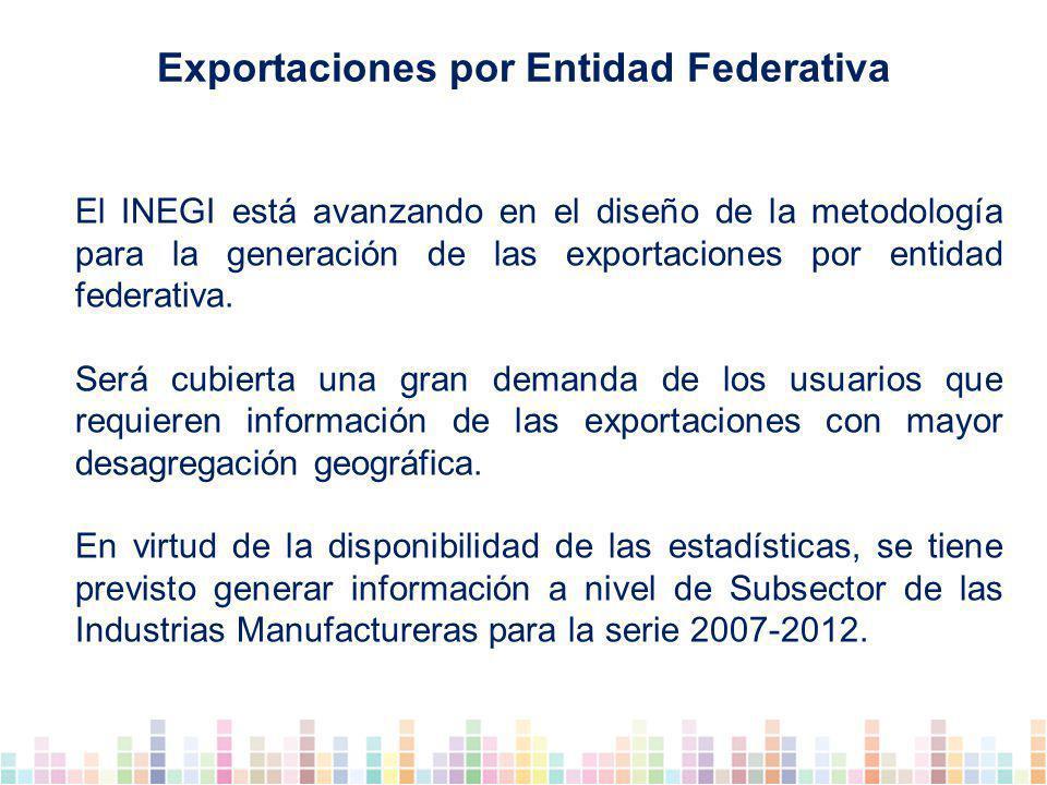 El INEGI está avanzando en el diseño de la metodología para la generación de las exportaciones por entidad federativa.