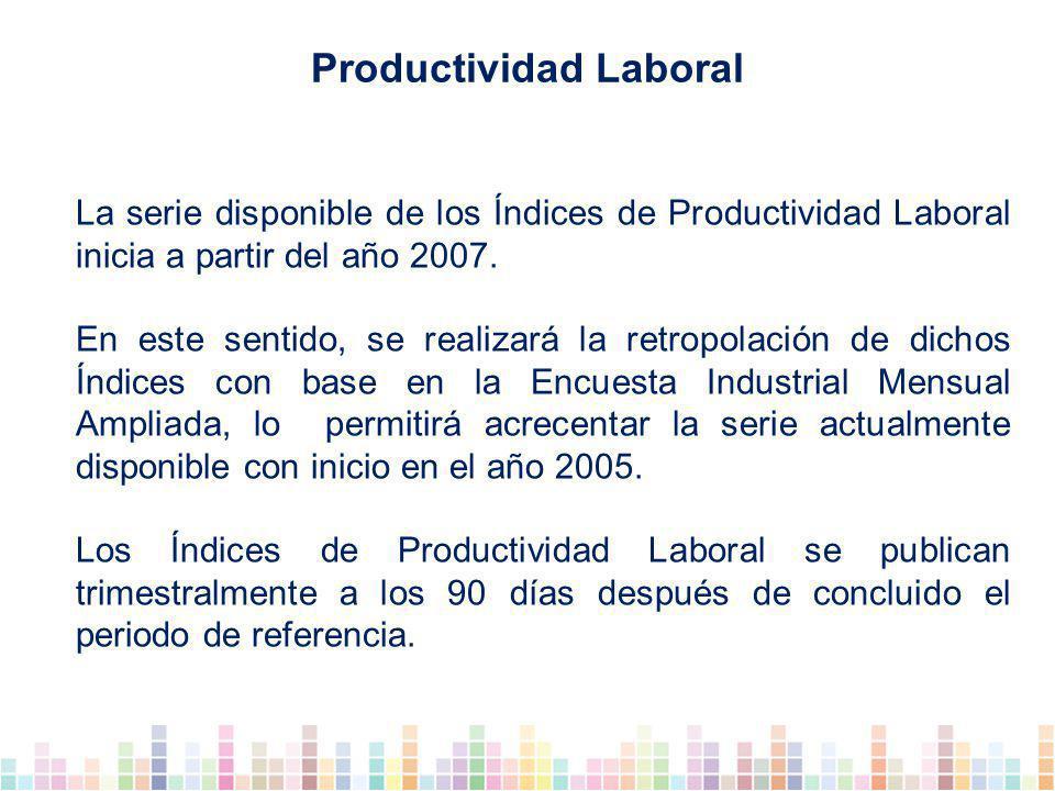 La serie disponible de los Índices de Productividad Laboral inicia a partir del año 2007.