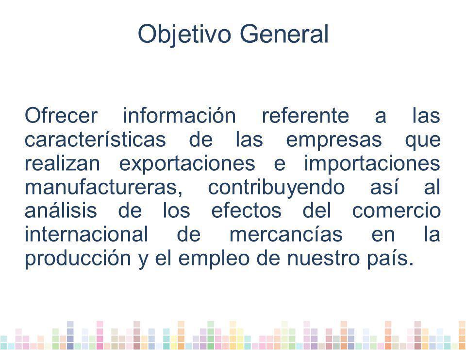 Objetivo General Ofrecer información referente a las características de las empresas que realizan exportaciones e importaciones manufactureras, contribuyendo así al análisis de los efectos del comercio internacional de mercancías en la producción y el empleo de nuestro país.