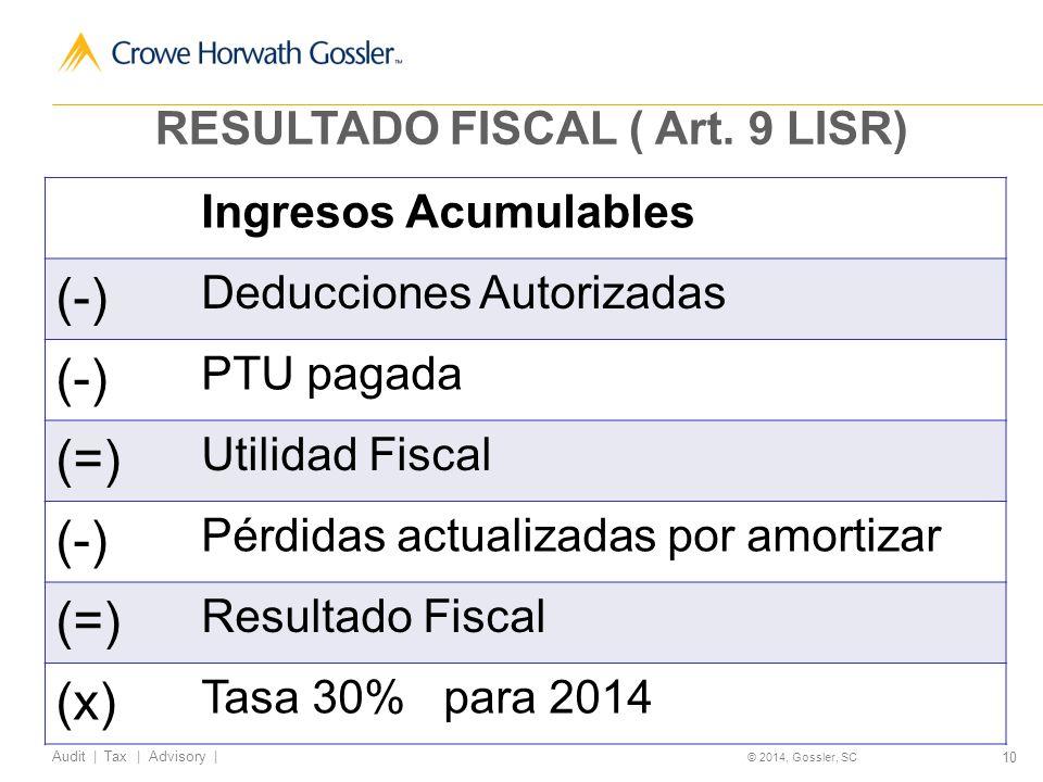 10 Audit   Tax   Advisory   © 2014, Gossler, SC RESULTADO FISCAL ( Art.