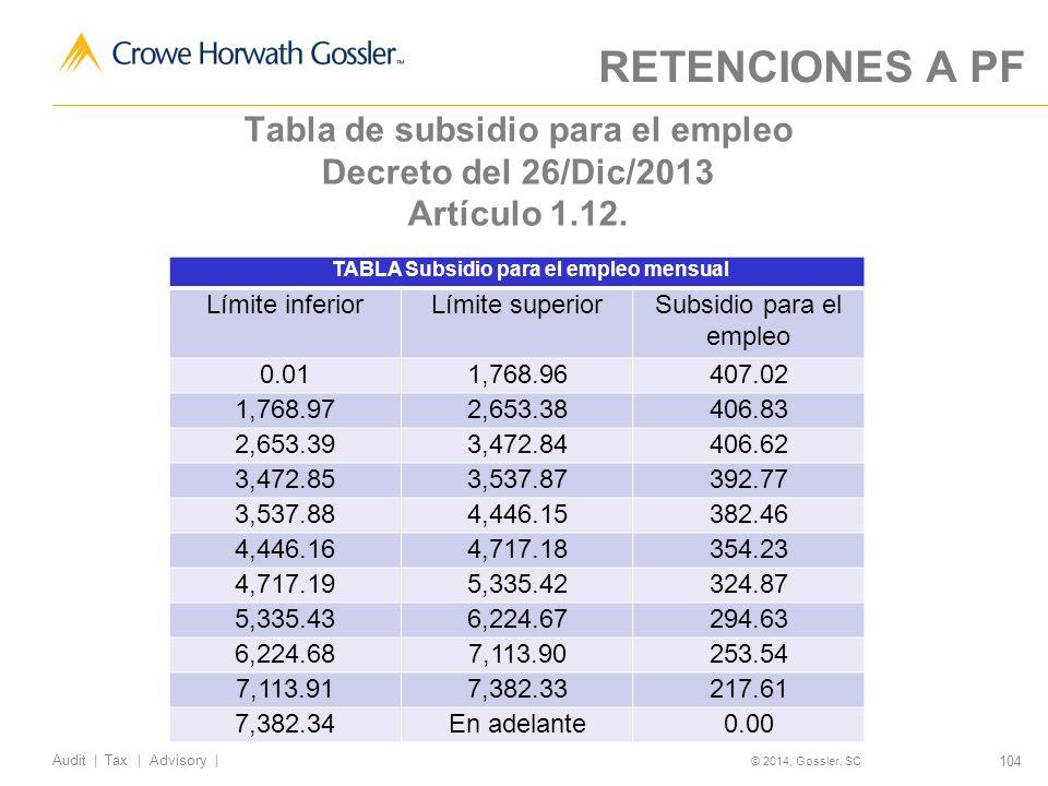 104 Audit   Tax   Advisory   © 2014, Gossler, SC Tabla de subsidio para el empleo Decreto del 26/Dic/2013 Artículo 1.12.