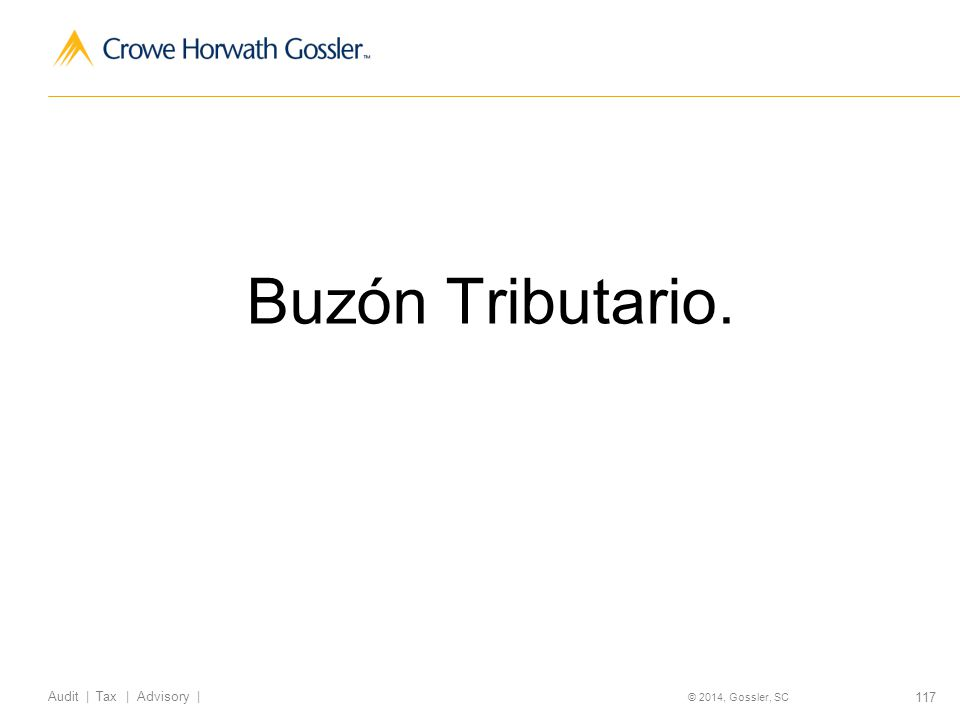 117 Audit | Tax | Advisory | © 2014, Gossler, SC Buzón Tributario.