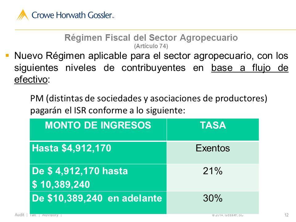 12 Audit   Tax   Advisory   © 2014, Gossler, SC Régimen Fiscal del Sector Agropecuario (Artículo 74) Nuevo Régimen aplicable para el sector agropecuario, con los siguientes niveles de contribuyentes en base a flujo de efectivo: MONTO DE INGRESOSTASA Hasta $4,912,170Exentos De $ 4,912,170 hasta $ 10,389,240 21% De $10,389,240 en adelante30% PM (distintas de sociedades y asociaciones de productores) pagarán el ISR conforme a lo siguiente: