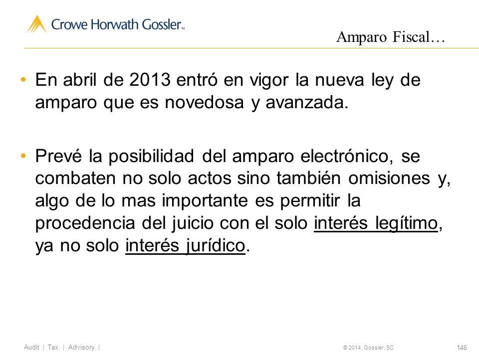 146 Audit   Tax   Advisory   © 2014, Gossler, SC En abril de 2013 entró en vigor la nueva ley de amparo que es novedosa y avanzada.