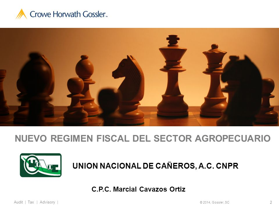2 Audit   Tax   Advisory   © 2014, Gossler, SC NUEVO REGIMEN FISCAL DEL SECTOR AGROPECUARIO UNION NACIONAL DE CAÑEROS, A.C.