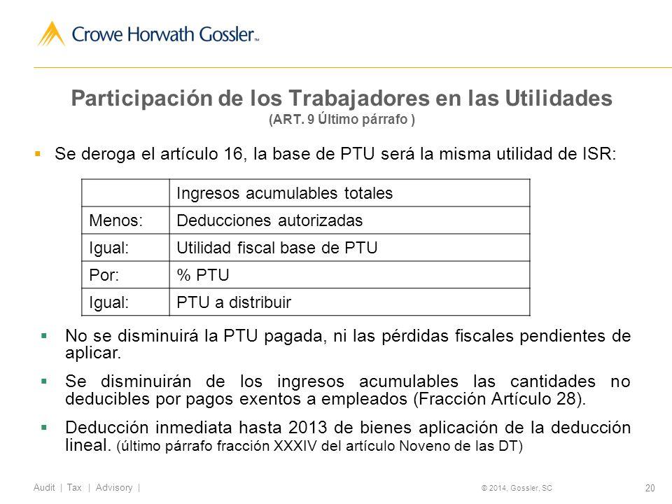 20 Audit   Tax   Advisory   © 2014, Gossler, SC Participación de los Trabajadores en las Utilidades (ART.