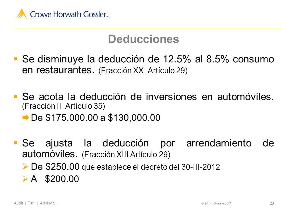 23 Audit   Tax   Advisory   © 2014, Gossler, SC Deducciones Se disminuye la deducción de 12.5% al 8.5% consumo en restaurantes.