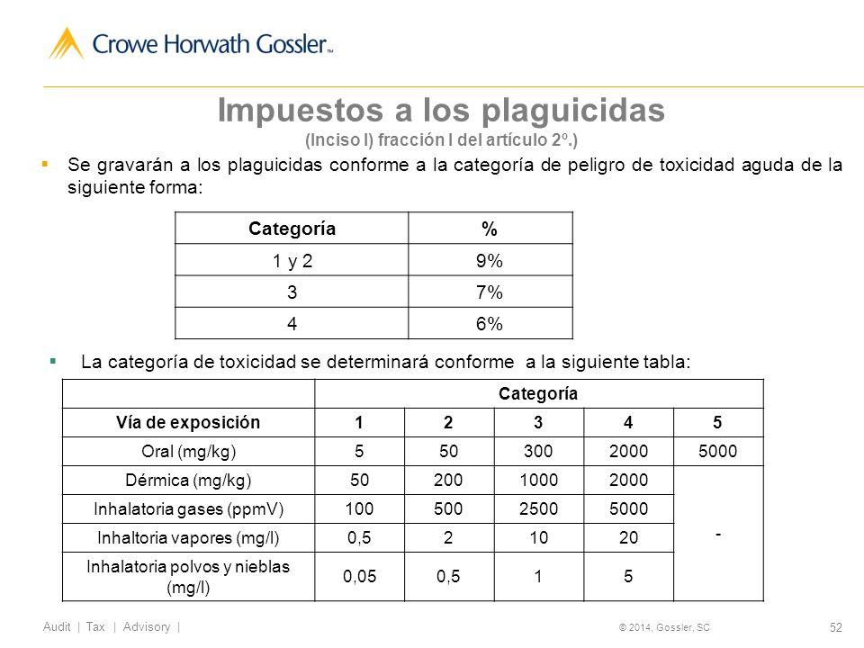 52 Audit   Tax   Advisory   © 2014, Gossler, SC Impuestos a los plaguicidas (Inciso I) fracción I del artículo 2º.) Se gravarán a los plaguicidas conforme a la categoría de peligro de toxicidad aguda de la siguiente forma: Categoría% 1 y 29% 37% 46% La categoría de toxicidad se determinará conforme a la siguiente tabla: Categoría Vía de exposición12345 Oral (mg/kg)55030020005000 Dérmica (mg/kg)5020010002000 - Inhalatoria gases (ppmV)10050025005000 Inhaltoria vapores (mg/l)0,521020 Inhalatoria polvos y nieblas (mg/l) 0,050,515
