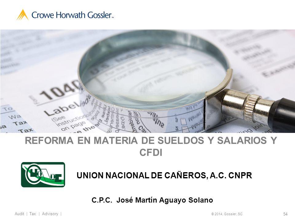 54 Audit   Tax   Advisory   © 2014, Gossler, SC REFORMA EN MATERIA DE SUELDOS Y SALARIOS Y CFDI UNION NACIONAL DE CAÑEROS, A.C.