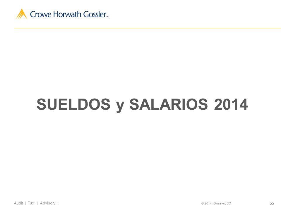 55 Audit   Tax   Advisory   © 2014, Gossler, SC SUELDOS y SALARIOS 2014
