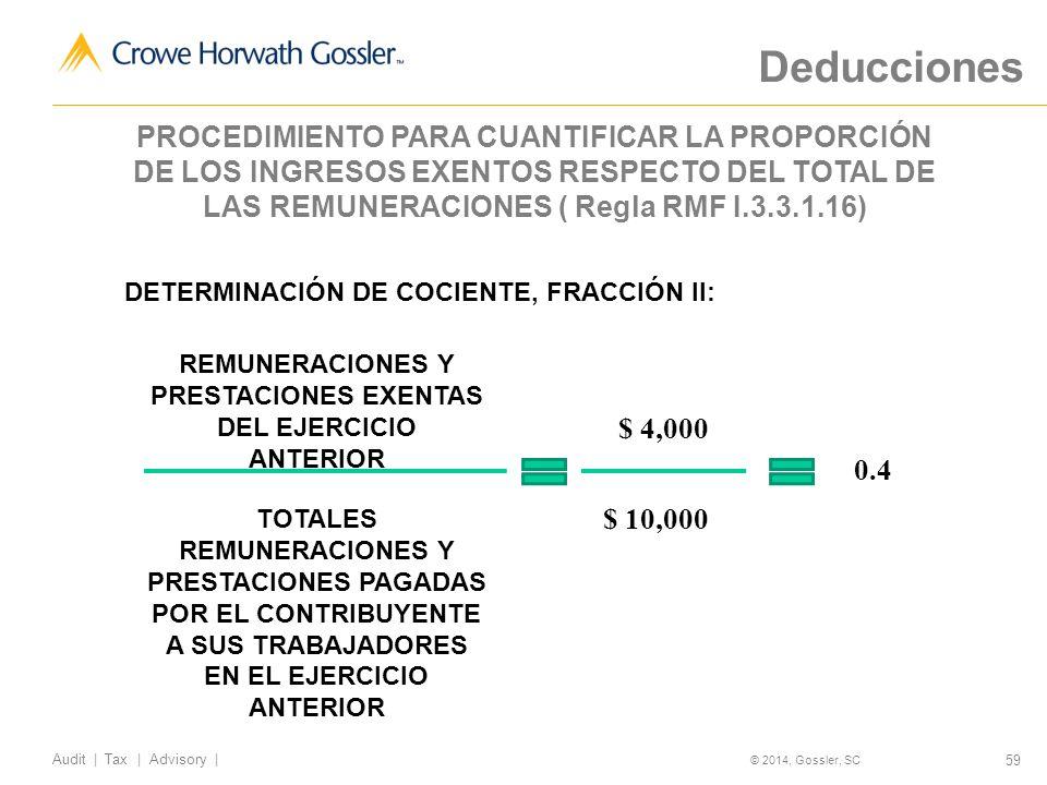 59 Audit   Tax   Advisory   © 2014, Gossler, SC DETERMINACIÓN DE COCIENTE, FRACCIÓN II: REMUNERACIONES Y PRESTACIONES EXENTAS DEL EJERCICIO ANTERIOR TOTALES REMUNERACIONES Y PRESTACIONES PAGADAS POR EL CONTRIBUYENTE A SUS TRABAJADORES EN EL EJERCICIO ANTERIOR $ 4,000 $ 10,000 0.4 Deducciones PROCEDIMIENTO PARA CUANTIFICAR LA PROPORCIÓN DE LOS INGRESOS EXENTOS RESPECTO DEL TOTAL DE LAS REMUNERACIONES ( Regla RMF I.3.3.1.16)