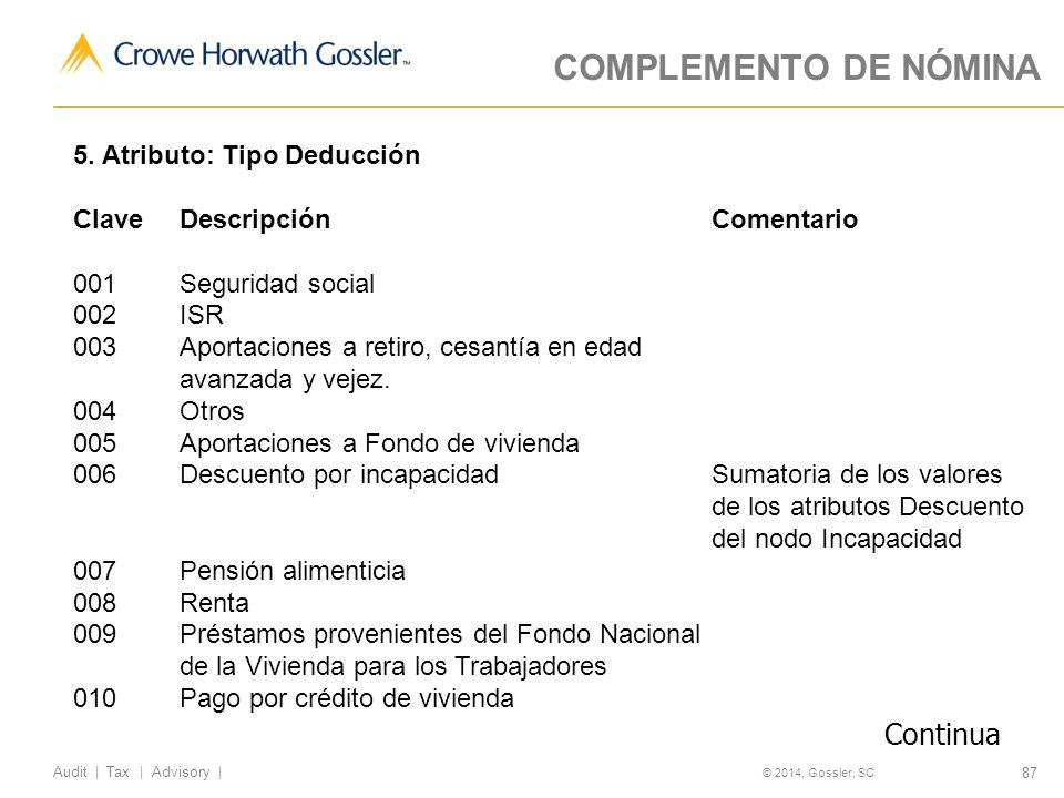 87 Audit   Tax   Advisory   © 2014, Gossler, SC COMPLEMENTO DE NÓMINA 5.