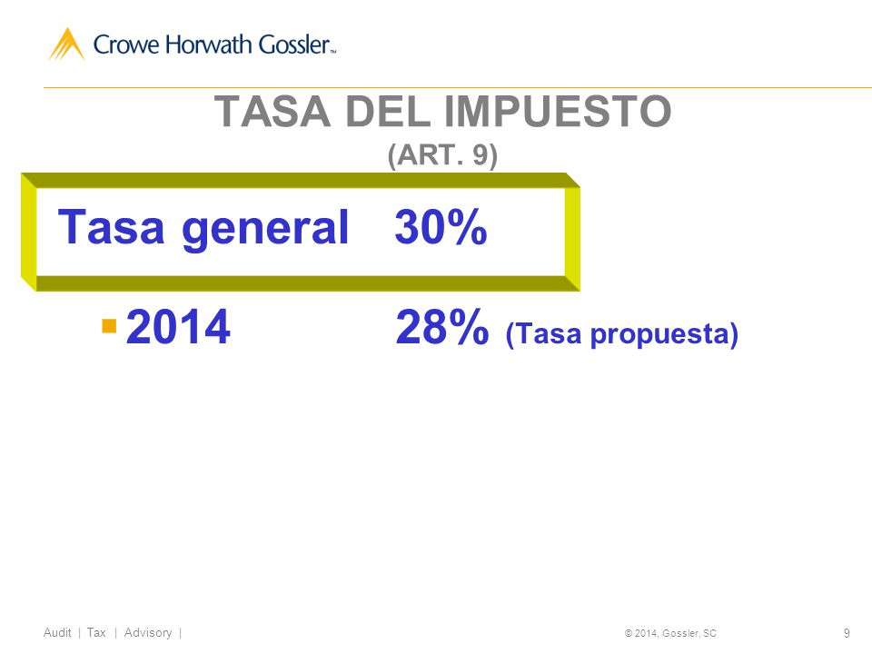 50 Audit | Tax | Advisory | © 2014, Gossler, SC Impuestos a los combustibles fósiles (Inciso H) fracción I del artículo 2º.) Se gravarán los combustibles fósiles de conformidad al siguiente cuadro: Combustible fósilCuotaUnidad de medida Propano5.91 centavosPor litro Butano7.66 centavosPor litro Gasolina y gasavión10.38 centavosPor litro Turbosina y otros kerosenos12.40 centavosPor litro Diesel12.59 centavosPor litro Combustóleo13.45 centavosPor litro Coque de petróleo15.60 pesosPor tonelada Coque de carbón36.57 pesosPor tonelada Carbón mineral27.54 pesosPor tonelada Otros combustibles fósiles39.80 pesos Por tonelada de carbono que contenga el combustible