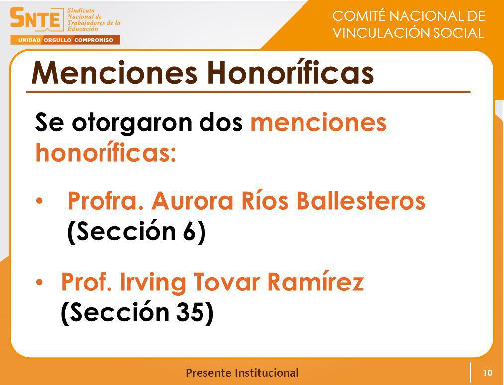 COMITÉ NACIONAL DE VINCULACIÓN SOCIAL Presente Institucional Menciones Honoríficas Se otorgaron dos menciones honoríficas: Profra. Aurora Ríos Ballest