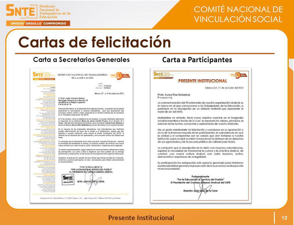 COMITÉ NACIONAL DE VINCULACIÓN SOCIAL Presente Institucional Cartas de felicitación 12 Carta a Secretarios Generales Carta a Participantes