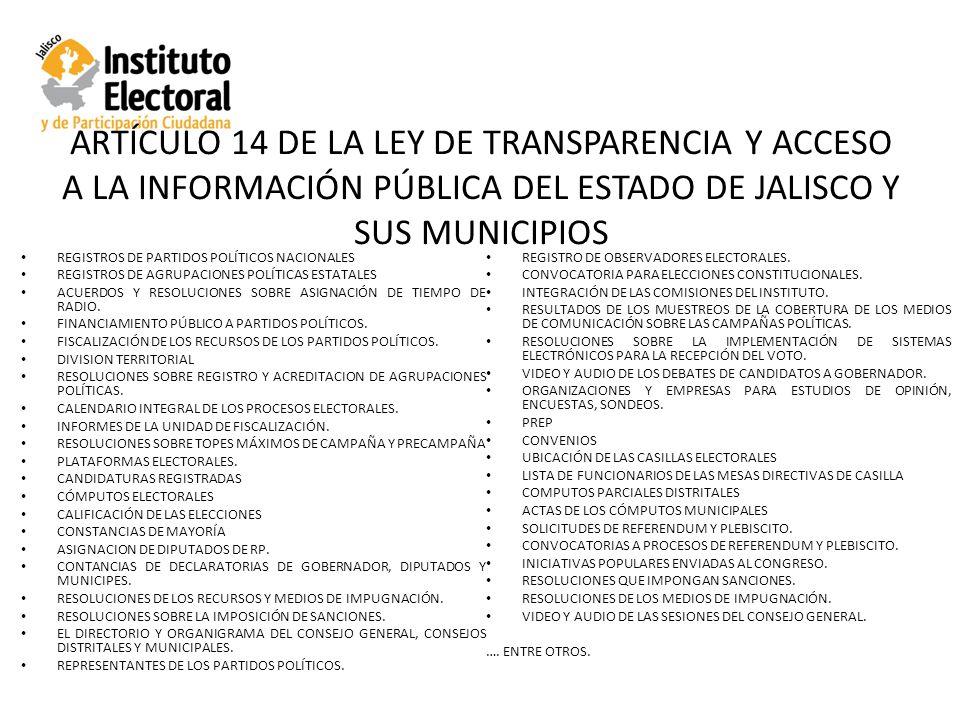 ARTÍCULO 14 DE LA LEY DE TRANSPARENCIA Y ACCESO A LA INFORMACIÓN PÚBLICA DEL ESTADO DE JALISCO Y SUS MUNICIPIOS REGISTROS DE PARTIDOS POLÍTICOS NACIONALES REGISTROS DE AGRUPACIONES POLÍTICAS ESTATALES ACUERDOS Y RESOLUCIONES SOBRE ASIGNACIÓN DE TIEMPO DE RADIO.