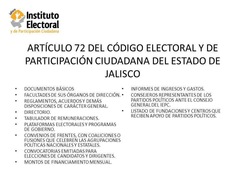 ARTÍCULO 72 DEL CÓDIGO ELECTORAL Y DE PARTICIPACIÓN CIUDADANA DEL ESTADO DE JALISCO DOCUMENTOS BÁSICOS FACULTADES DE SUS ÓRGANOS DE DIRECCIÓN.