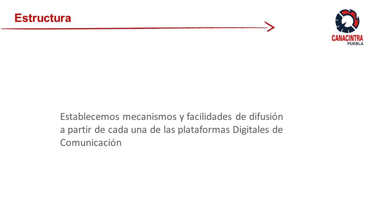 Establecemos mecanismos y facilidades de difusión a partir de cada una de las plataformas Digitales de Comunicación Estructura
