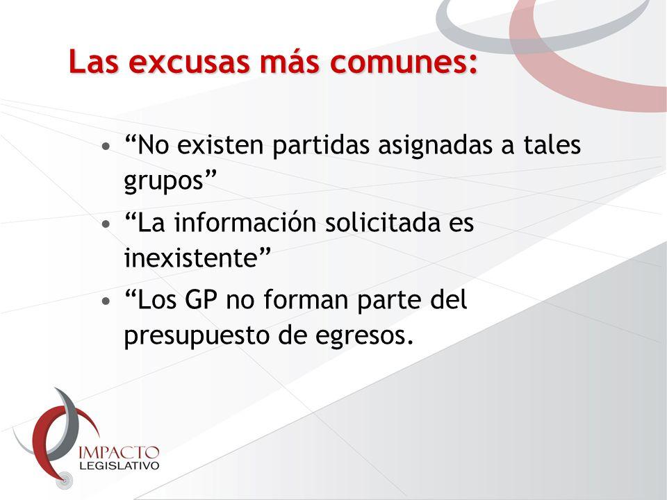 Las excusas más comunes: No existen partidas asignadas a tales grupos La información solicitada es inexistente Los GP no forman parte del presupuesto de egresos.