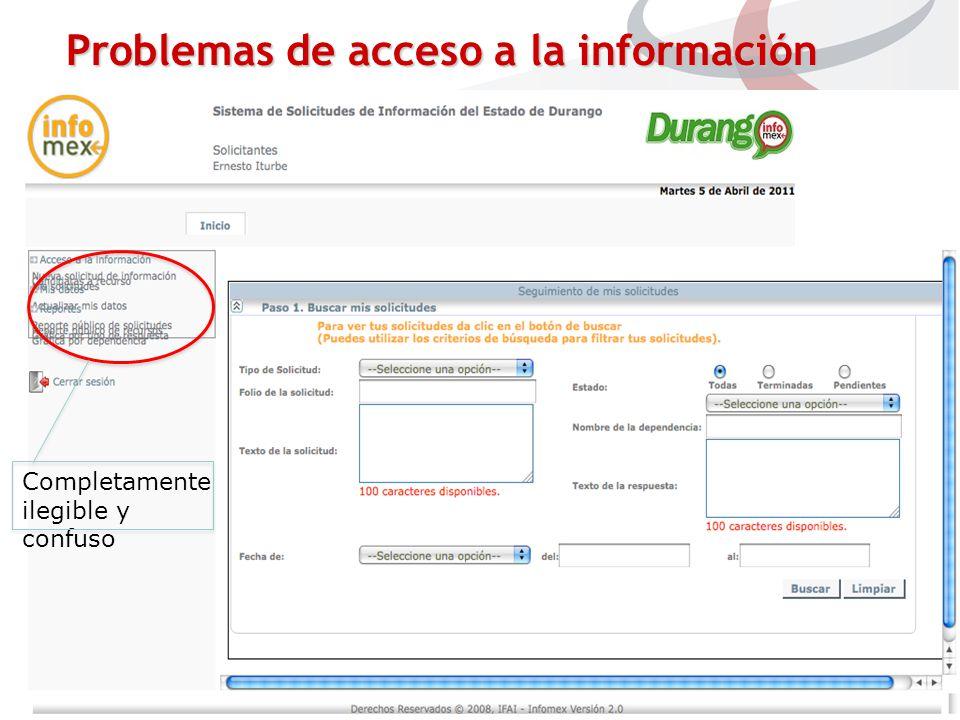 Completamente ilegible y confuso Problemas de acceso a la información