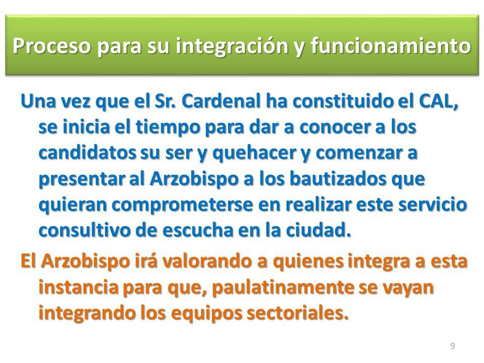 Proceso para su integración y funcionamiento Proceso para su integración y funcionamiento Una vez que el Sr.