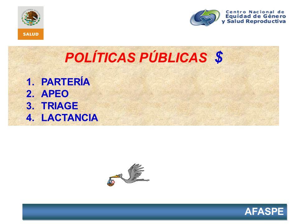 AFASPE POLÍTICAS PÚBLICAS $ 1.PARTERÍA 2.APEO 3.TRIAGE 4.LACTANCIA