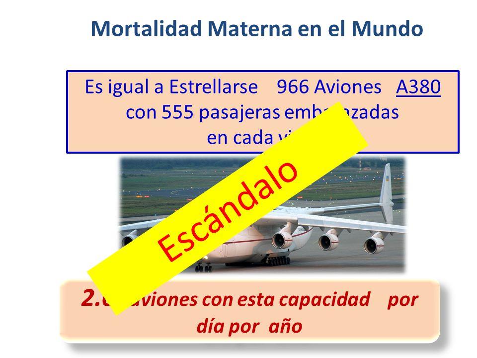 2.6 aviones con esta capacidad por día por año Mortalidad Materna en el Mundo Es igual a Estrellarse 966 Aviones A380 con 555 pasajeras embarazadas en