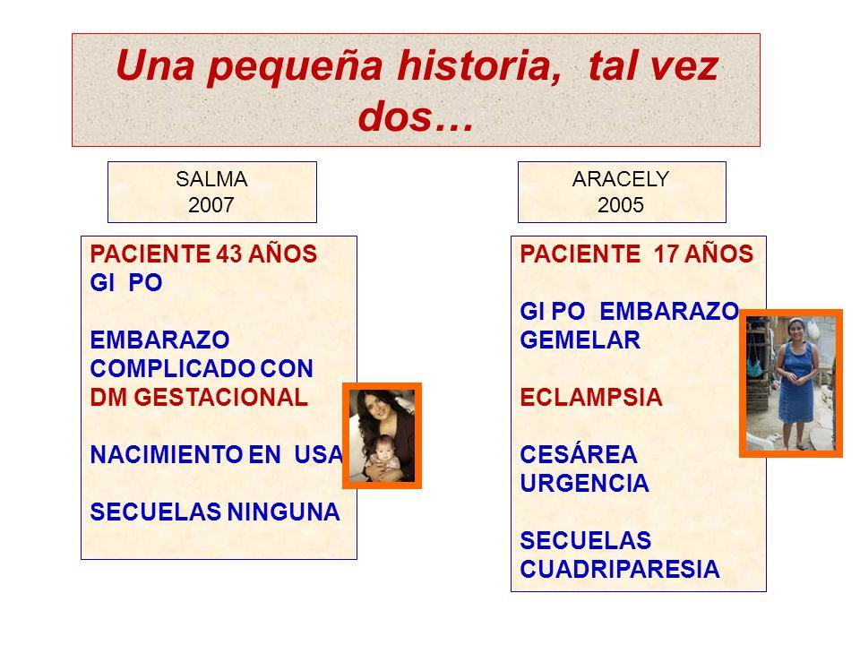Una pequeña historia, tal vez dos… ARACELY 2005 SALMA 2007 PACIENTE 43 AÑOS GI PO EMBARAZO COMPLICADO CON DM GESTACIONAL NACIMIENTO EN USA SECUELAS NI