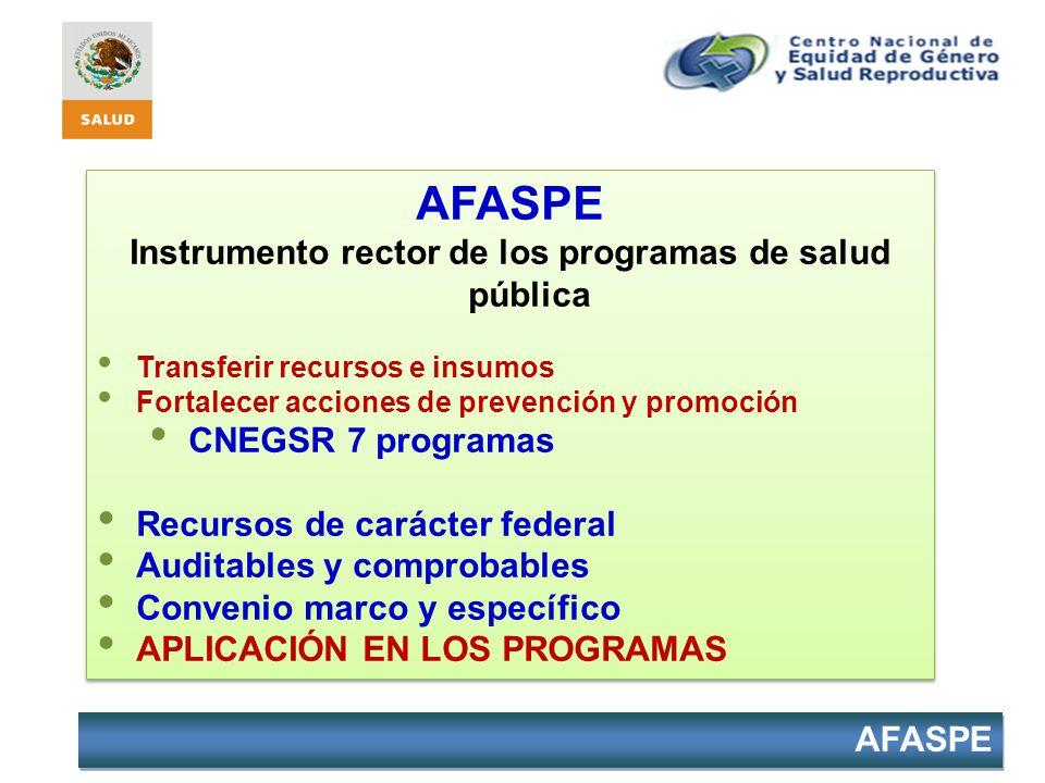 AFASPE Instrumento rector de los programas de salud pública Transferir recursos e insumos Fortalecer acciones de prevención y promoción CNEGSR 7 progr