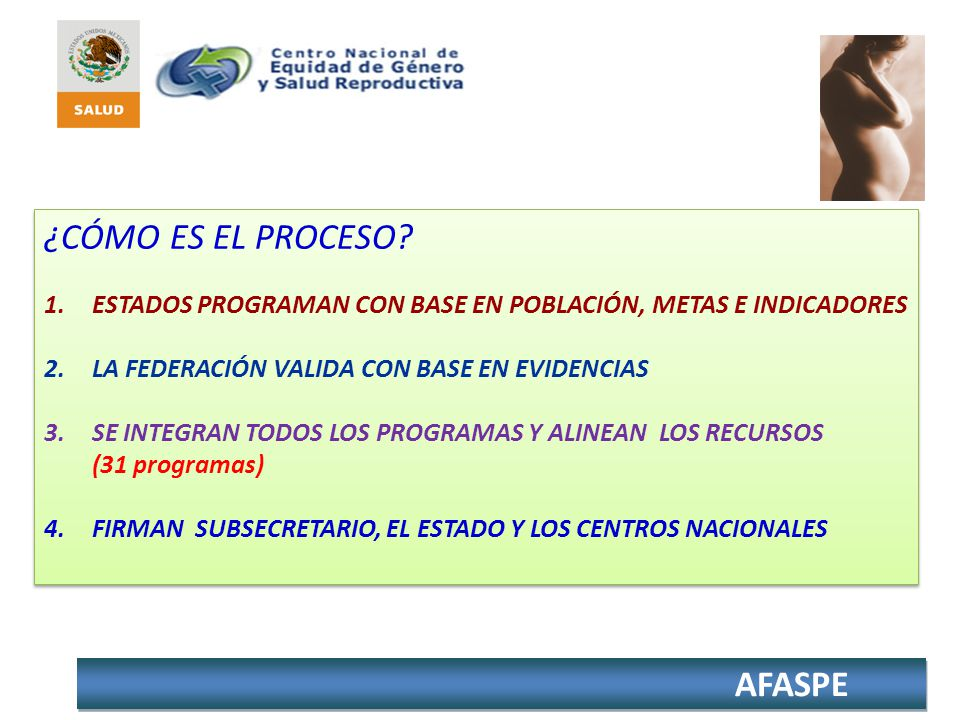 AFASPE MODIFICACIONES A LOS AFASPES LAS PARTIDAS SE ACUERDAN CON EL LÍDER FEDERAL DEL PROGRAMA.
