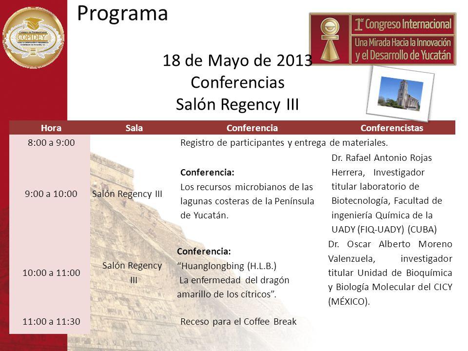HoraSalaConferenciaConferencistas 8:00 a 9:00Registro de participantes y entrega de materiales. 9:00 a 10:00Salón Regency III Conferencia: Los recurso