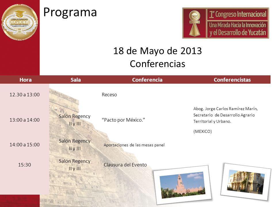 HoraSalaConferenciaConferencistas 12.30 a 13:00Receso 13:00 a 14:00 Salón Regency II y III Pacto por México. Abog. Jorge Carlos Ramírez Marín, Secreta