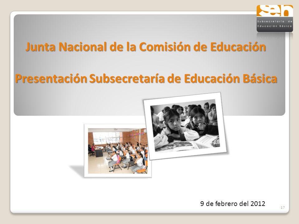 9 de febrero del 2012 17 Junta Nacional de la Comisión de Educación Presentación Subsecretaría de Educación Básica
