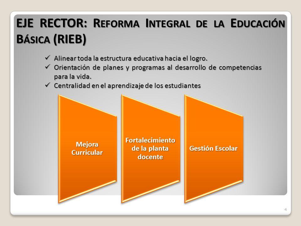 4 EJE RECTOR: R EFORMA I NTEGRAL DE LA E DUCACIÓN B ÁSICA (RIEB) Alinear toda la estructura educativa hacia el logro.