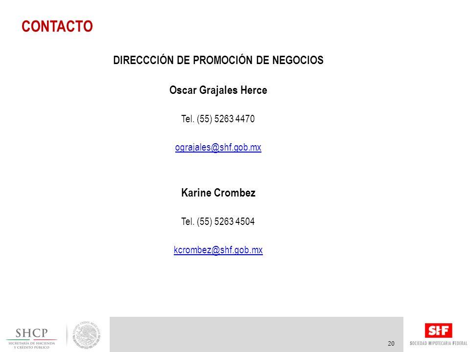 CONTACTO 20 DIRECCCIÓN DE PROMOCIÓN DE NEGOCIOS Oscar Grajales Herce Tel.