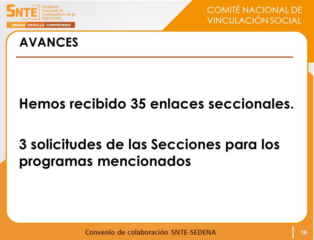 COMITÉ NACIONAL DE VINCULACIÓN SOCIAL Convenio de colaboración SNTE-SEDENA AVANCES Hemos recibido 35 enlaces seccionales. 3 solicitudes de las Seccion