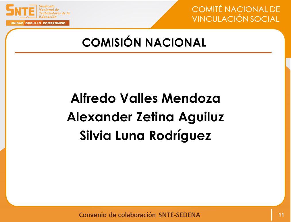 COMITÉ NACIONAL DE VINCULACIÓN SOCIAL Convenio de colaboración SNTE-SEDENA COMISIÓN NACIONAL Alfredo Valles Mendoza Alexander Zetina Aguiluz Silvia Luna Rodríguez 11