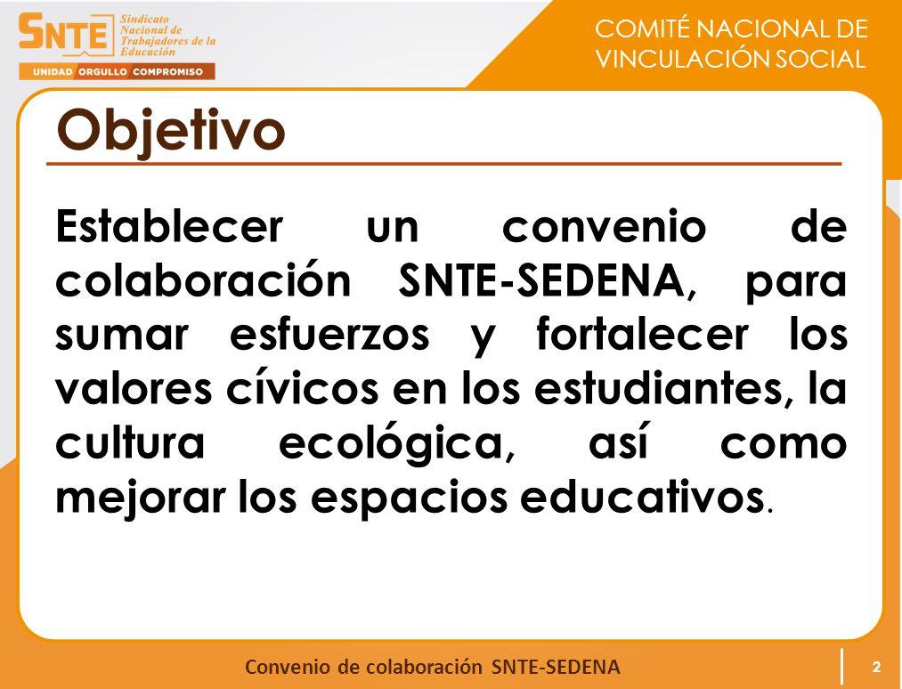 COMITÉ NACIONAL DE VINCULACIÓN SOCIAL Convenio de colaboración SNTE-SEDENA Objetivo Establecer un convenio de colaboración SNTE-SEDENA, para sumar esf