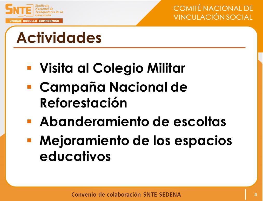COMITÉ NACIONAL DE VINCULACIÓN SOCIAL Convenio de colaboración SNTE-SEDENA Actividades Visita al Colegio Militar Campaña Nacional de Reforestación Abanderamiento de escoltas Mejoramiento de los espacios educativos 3