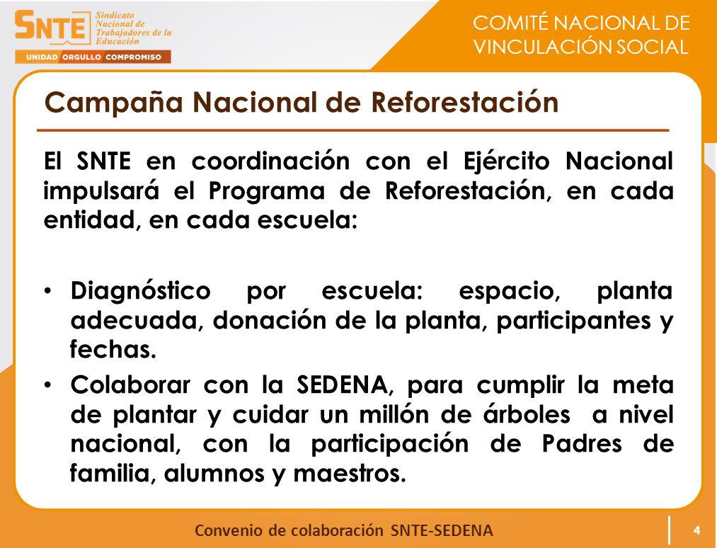 COMITÉ NACIONAL DE VINCULACIÓN SOCIAL Convenio de colaboración SNTE-SEDENA Campaña Nacional de Reforestación El SNTE en coordinación con el Ejército N