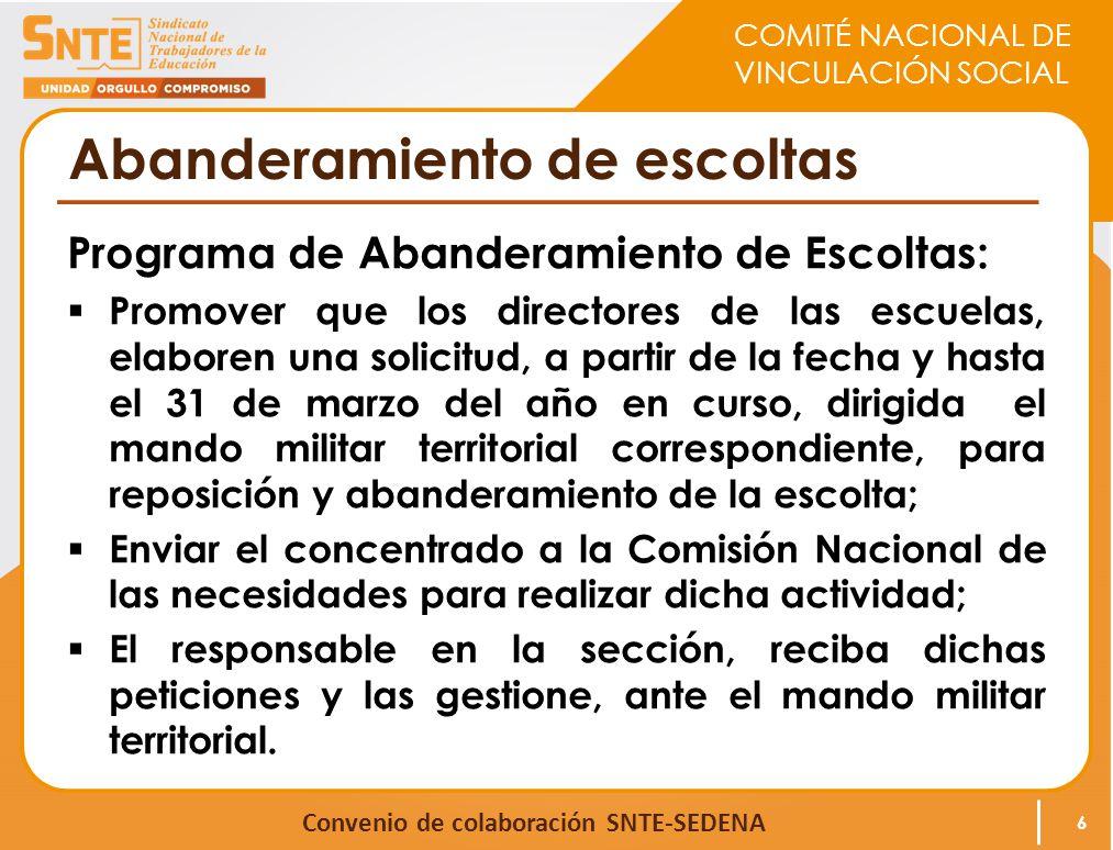 COMITÉ NACIONAL DE VINCULACIÓN SOCIAL Convenio de colaboración SNTE-SEDENA Abanderamiento de escoltas Programa de Abanderamiento de Escoltas: Promover