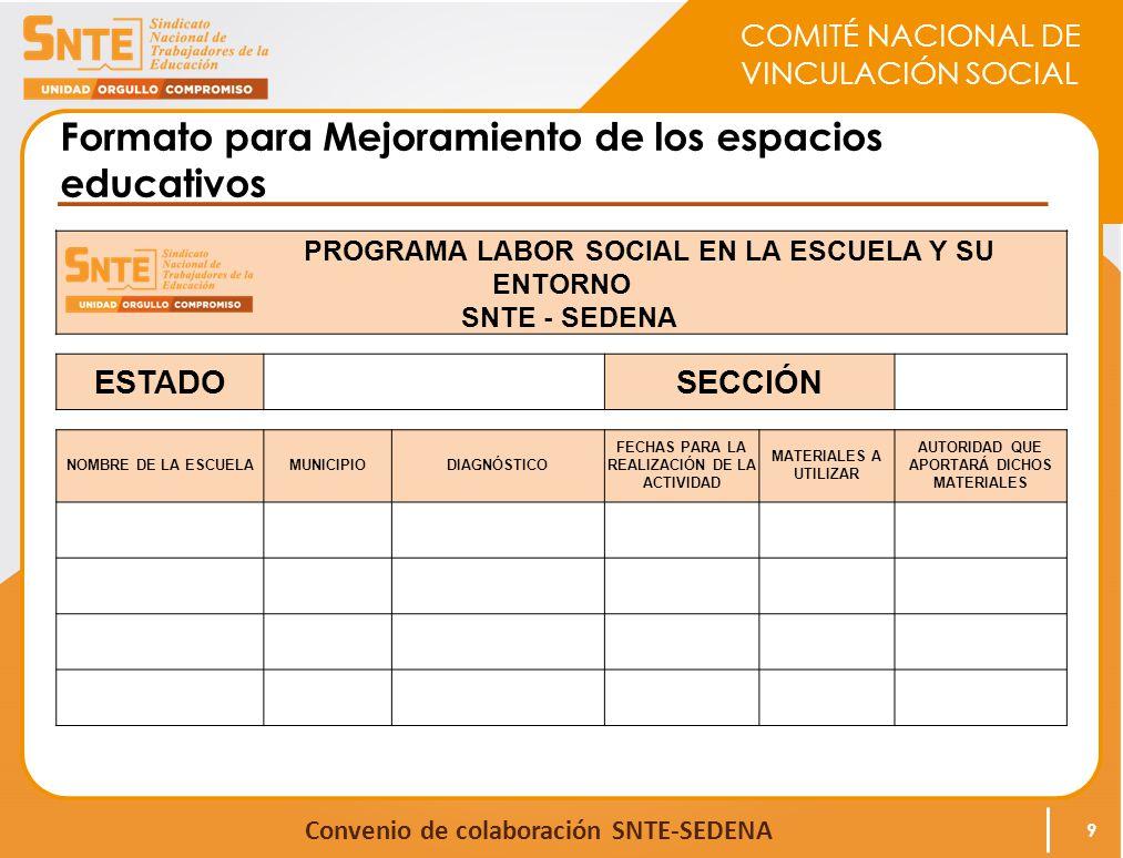 COMITÉ NACIONAL DE VINCULACIÓN SOCIAL Convenio de colaboración SNTE-SEDENA Formato para Mejoramiento de los espacios educativos PROGRAMA LABOR SOCIAL EN LA ESCUELA Y SU ENTORNO SNTE - SEDENA ESTADO SECCIÓN NOMBRE DE LA ESCUELAMUNICIPIODIAGNÓSTICO FECHAS PARA LA REALIZACIÓN DE LA ACTIVIDAD MATERIALES A UTILIZAR AUTORIDAD QUE APORTARÁ DICHOS MATERIALES 9