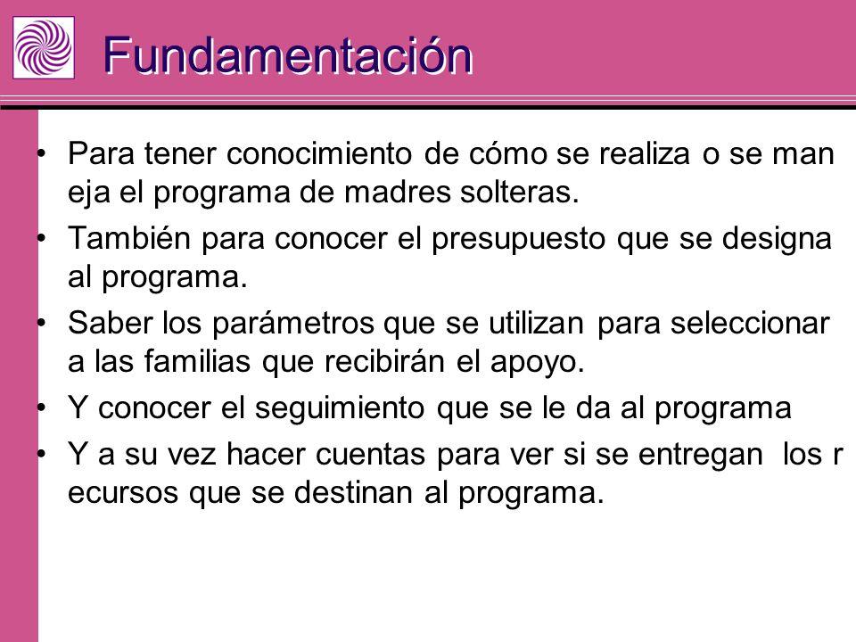 Fundamentación Para tener conocimiento de cómo se realiza o se man eja el programa de madres solteras. También para conocer el presupuesto que se desi