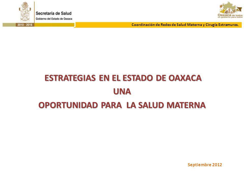 ESTRATEGIAS EN EL ESTADO DE OAXACA ESTRATEGIAS EN EL ESTADO DE OAXACAUNA OPORTUNIDAD PARA LA SALUD MATERNA Coordinación de Redes de Salud Materna y Ci